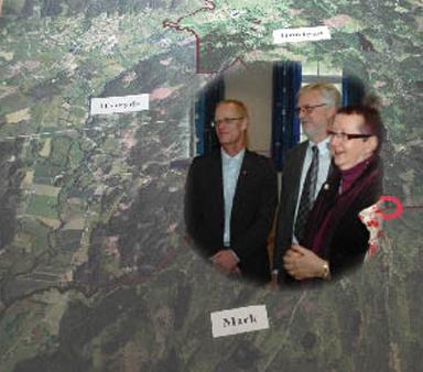 Kommunalråden Pelle Pellby, Christer Johansson och Anette Eiserman- Wikström från Marks-, Bollebygds- och Härryda kommuner.