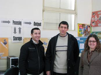 From left to right: Keith and Joseph from St. Ignatius, Jeannette from eTwinning Malta<br />