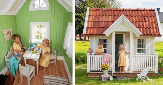 <span>Sixten blir bjuden på fika av Juni. Lekstugan står på gården och är barnens favoritlekplats.</span>