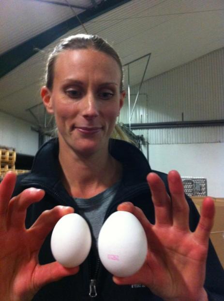 <span>Ekne Gård (Emma) som visar att det finns olika storlekar på ägg</span>