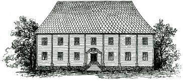Byggnaden man flyttade ifrån. Invigd 1671, lämnad 1816, såld på 1830-talet, flyttad till Hemlingby där den fortfarande finns