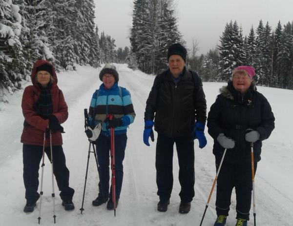 Till Hump och Svedje 1 febr. 10,7 km. Eileen, Anne-Marie, Anders och Annica