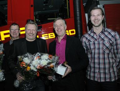 Thomas Johansson, Jörgen Berens, Sture Johansson och dagens platschef, Peter Orrestrand.