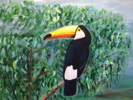 En av kubas alla fågelsorter blev också avmålad och fick besökarna att tänka på Kubas djungel.