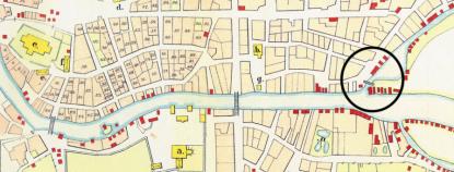 Smäckbron markerad med en ring på en gammal Gävlekarta