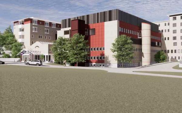 <span>I projektet tillkommer komplement till ombyggnationen: fläktrum, hisstorn samt förbindelsegång som ligger visuellt synliga från sjukhusets huvudentré.</span>
