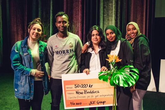 Vinnarna Mariam Kakhi, Abdullahi Muhamed, Bahar Arman, Fardowsa Iid och Maida Ali. Foto; Christoffer Busck