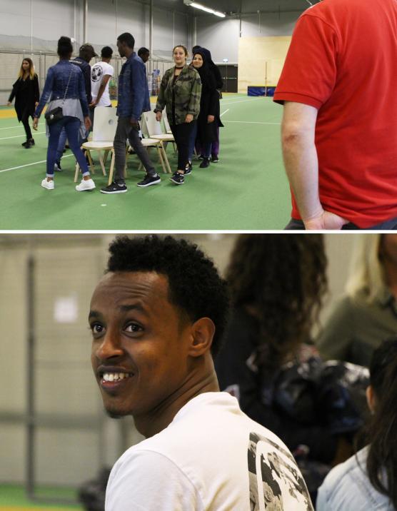 Vem sitter sist? (övre bilden) och Abdi trivdes (nedre bilden).