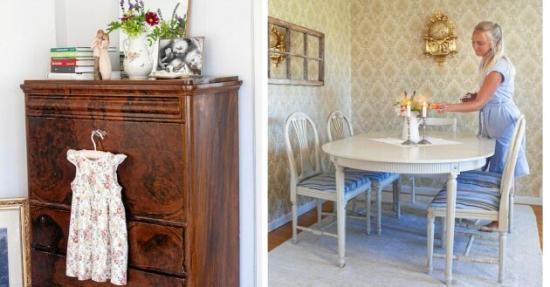 <span>Möblerna är loppisfynd eller fanns kvar på gården. Den lilla klänningen på skänken är Junis 4-årspresent från mormor och morfar.</span>