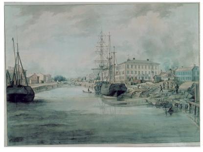 Den nya skolan 1816 på åns högra (norra) sida. Brann 1869