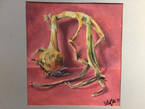 En annan elev hade inspirerats av den Kubanska maten och målat en vacker lök.
