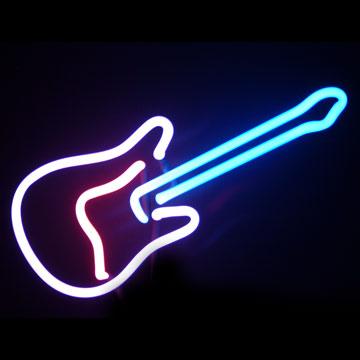 Neonlampa som ser ut som en elgitarr!