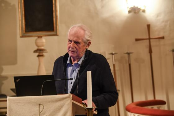 Ingemar Fredriksson berättade om hur det gick till när Bollebygds kyrka byggdes.