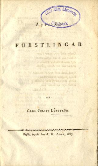 Ett av Lénströms första verk. \