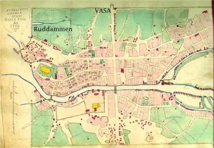 På denna karta kan vi se ruddammen. Även Vasaskolans läge har markerats.
