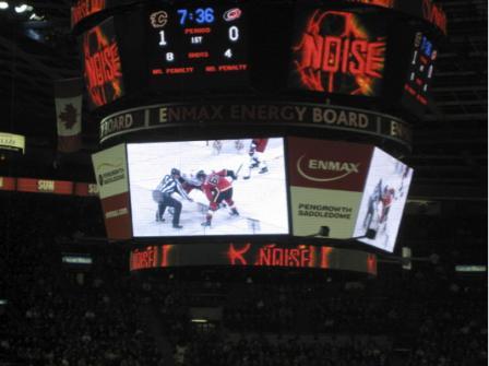 Mikael Backlund på jumbotronen i Calgary Flames hemmaarena.