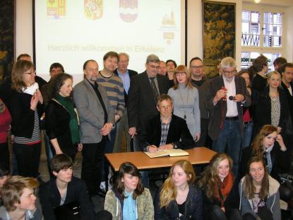 Mer än 200 lärare och elever på besök irådhuset i Erkelenz.