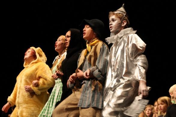 Det fega lejonet, Dorothy, Toto, Fågelskrämman och Plåtmannen följer den gula tegelvägen till trollkarlen av Oz.