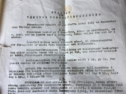 Originaldokument stadgar Värings Hemsysterförening antagna 19 maj 1943