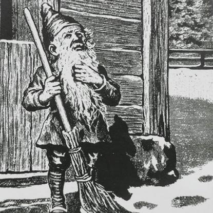 Den traditionella svenska tomten. Liten och grå och på gården inte bara till jul utan hela året