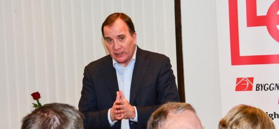 Stefan Löfven, idag vald till statsminister, vid ett besök i Bollebygd i slutet av 2017.