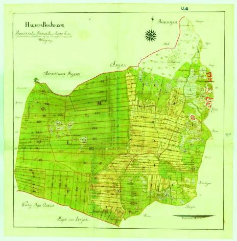 """""""Hakarpa Bys Inegor uti Blekinge Lähn, Bräkn Härad, Hoby Sokn: Grundritade ock Taxerade år 1776 och Storskiftade 1778 och 1779 af Nils Hedengran,  Commisions-landtmätare."""""""