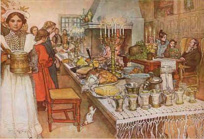 Julfirade i Dalarna ca 1905. Carl Larsson