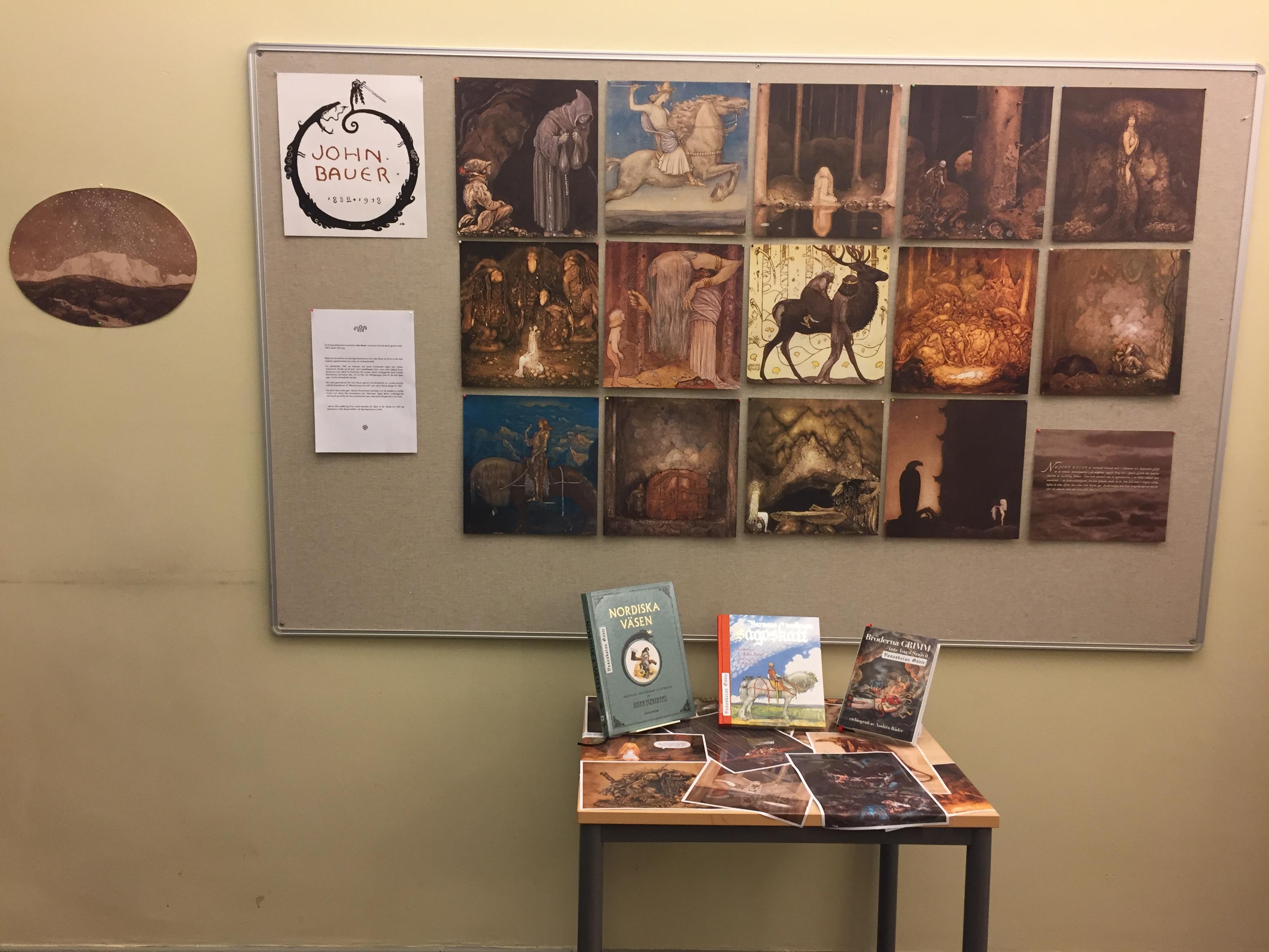 Delar av John Bauer utställningen i Vasaskolans bibliotek