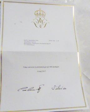 Brevet från kungen och drottningen.