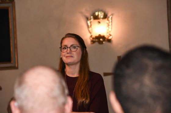 Elise Lund föreläste om och kring sin konstruktionsanalys av Bollebygds kyrka.