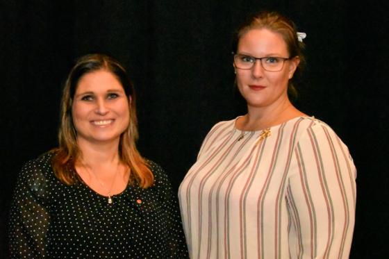 Vice ordförande och ordförande i samhällsbyggnadsnämnden. Emma Isfeldt (S) <br />och Sandra Eliasson (C)-