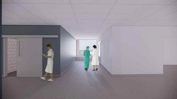 <span>På operation avslutas korridorerna med stora fönster med utblick mot centrala &Ouml;rnsköldsvik. Fönstren ger även dagsljusinsläpp i korridorer på avdelningen.</span>