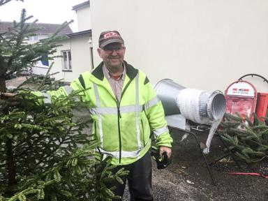 Lars-Åke Andersson har öppnat sin julgransförsäljning intill Linds Radio TV