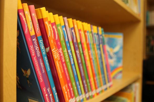 I bokhyllan så står det färgglada böcker uppradade.