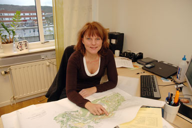 Michaela Kleman, kommunarkitekt i Bollebygd som just nu har fullt upp.