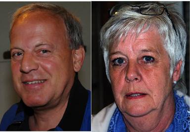 Två nöjda representanter för Företagarna respektive Köpmännen i Bollebygd. Stefan Bothén och Jill Nordh.