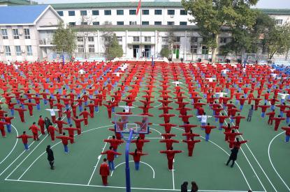 Morgongymnastik på vår vänskola, No 27 Middle School