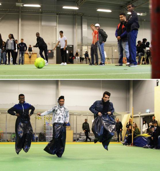 Irländsk fotboll och säckhoppning satte fart på tillställningen.