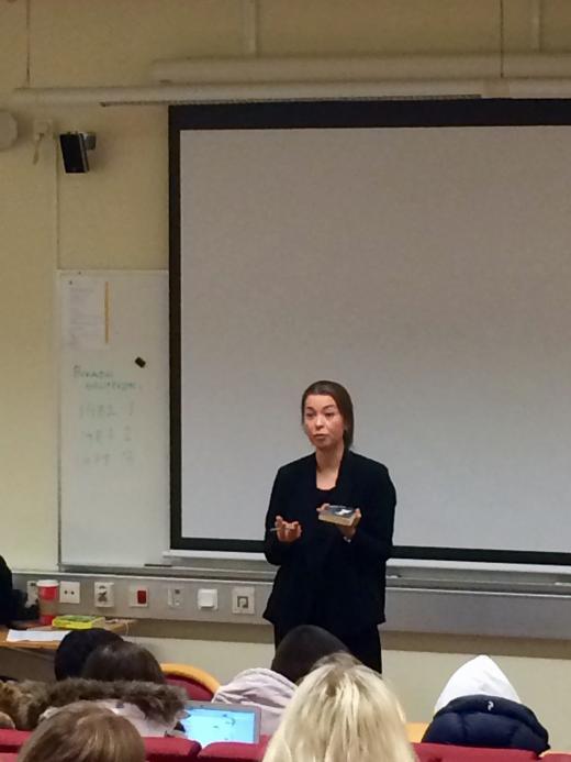 Författaren Karolina Ramqvist gästade Bergagymnasiet under fredagen.