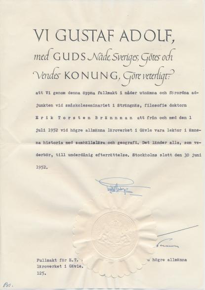 Den kungliga fullmakten från 1952