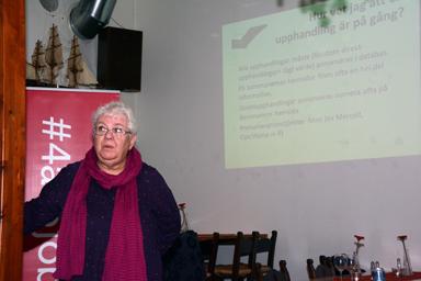 Sibylle Mendes gav ett 20-tal företagare en lektion i Lagen om offentlig upphandling.