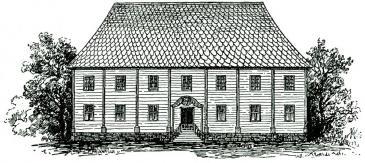Skolbyggnaden som illuminerades 1810.<br />Den finns ännu bevarad, nu i Hemlingby.