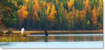 Fiskare i Bergsjön slutet av september