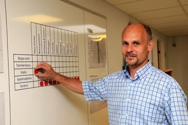 Mats Persson, ny platschef på Skanskas prefabfabrik i Bollebygd.