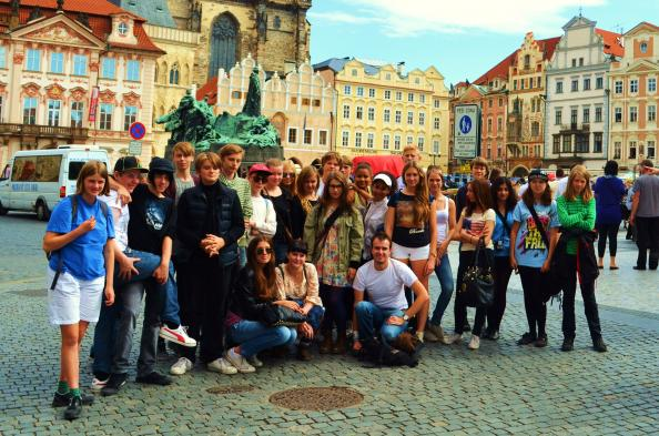 A group photo from Prague