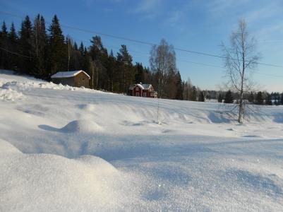 Solen gnistrar i snön.