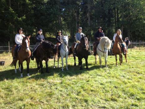 Kavalleriets åtta medlemmar tränar en gång i veckan. Från vänster Ingela Märkel, Isabel Rodeson, Emelie Rössel, Ingvar Abrahamsson, Håkan Nordström, Ronja Johansson.