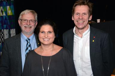 Kommunstyrelsen<br />Kommunstyrelsens 1:e vice ordförande, Christer Johansson (M), 2:e vice ordförande Emma Isfeldt (S) och ordförande Peter Rosholm (S).