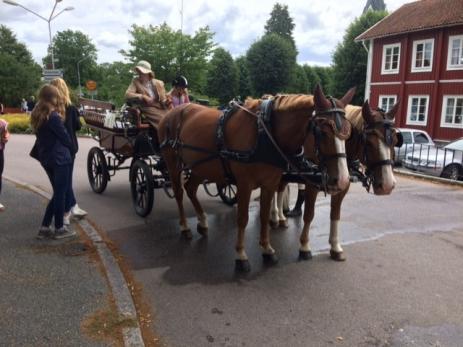 Cathryn Karlsson och Tilly Andersson körde häst o vagn med åksugna besökare.