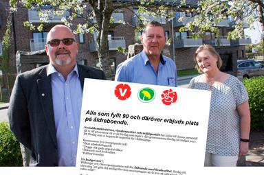 Ulf Rapp (S), Tomas Ridell (V) och Rose-Marie Grune (MP).